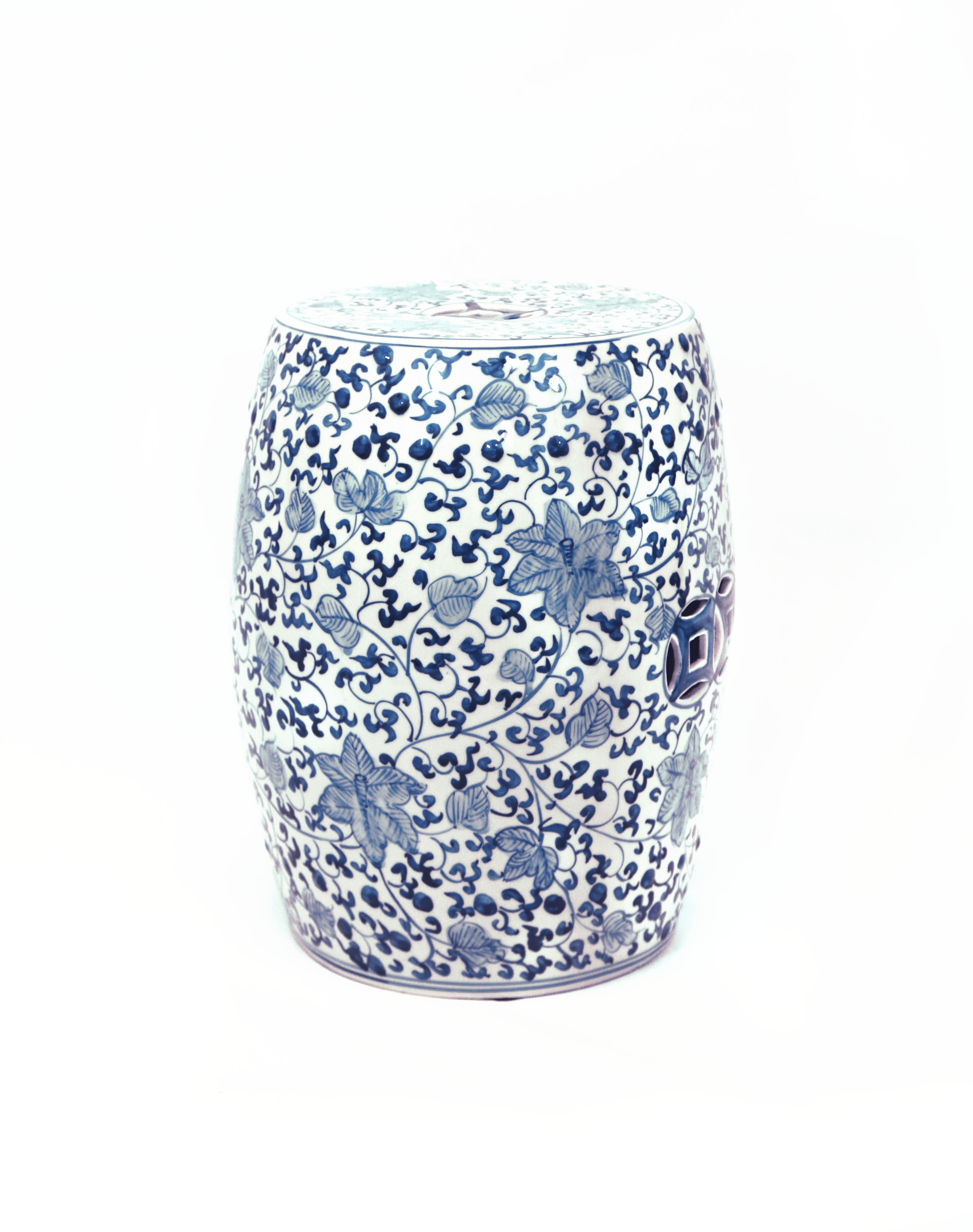 midnight products butterflies painted hand ceramic stool thedecorkart garden white